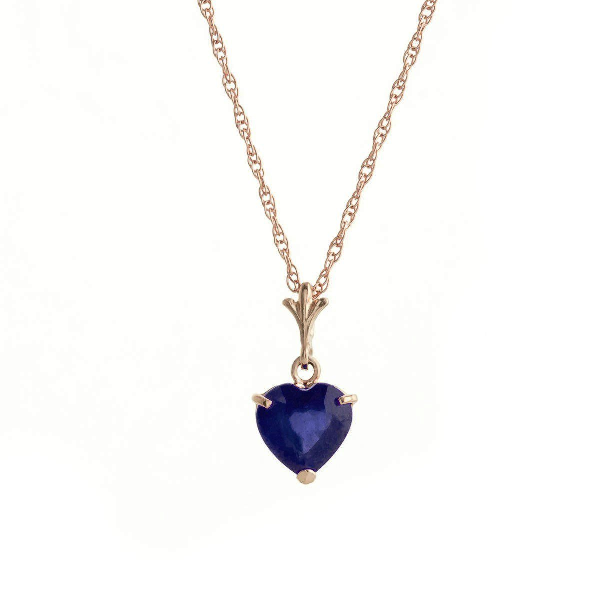 Sweetest Day Natural Sapphire Heart Pendant Necklace 14K Solid Rose Gold 4318-R
