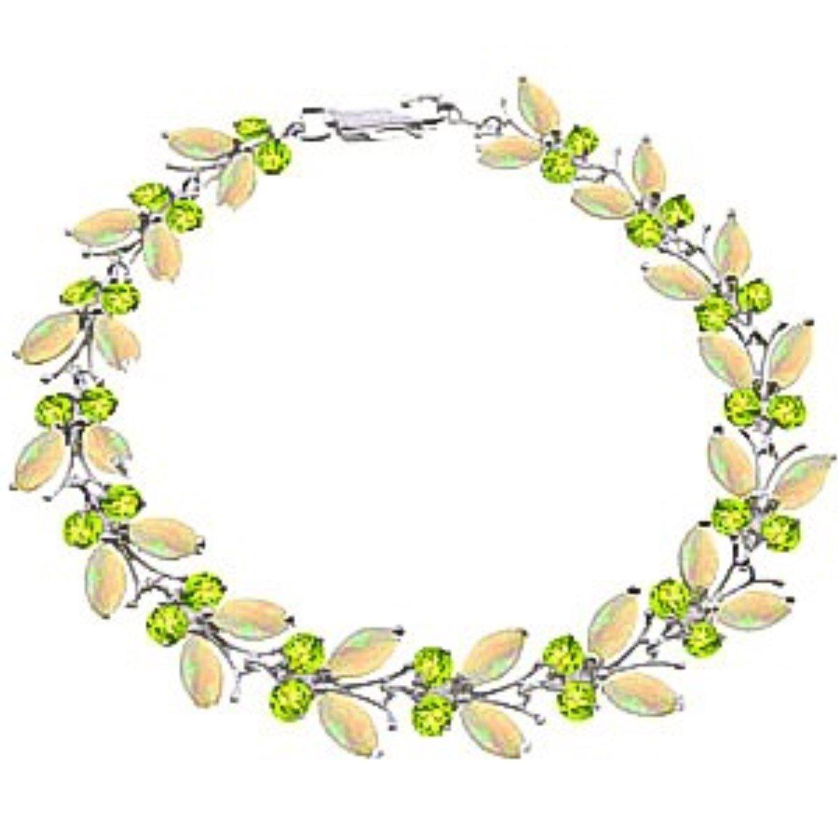 Opal Peridot Eternal Butterfly Gemstone Bracelet Solid 14K White Gold 2628-W