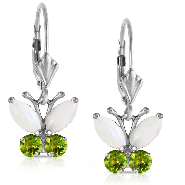 Opal Peridot Open Butterfly Leverback Dangle Earrings Solid 14k White Gold 2202-W