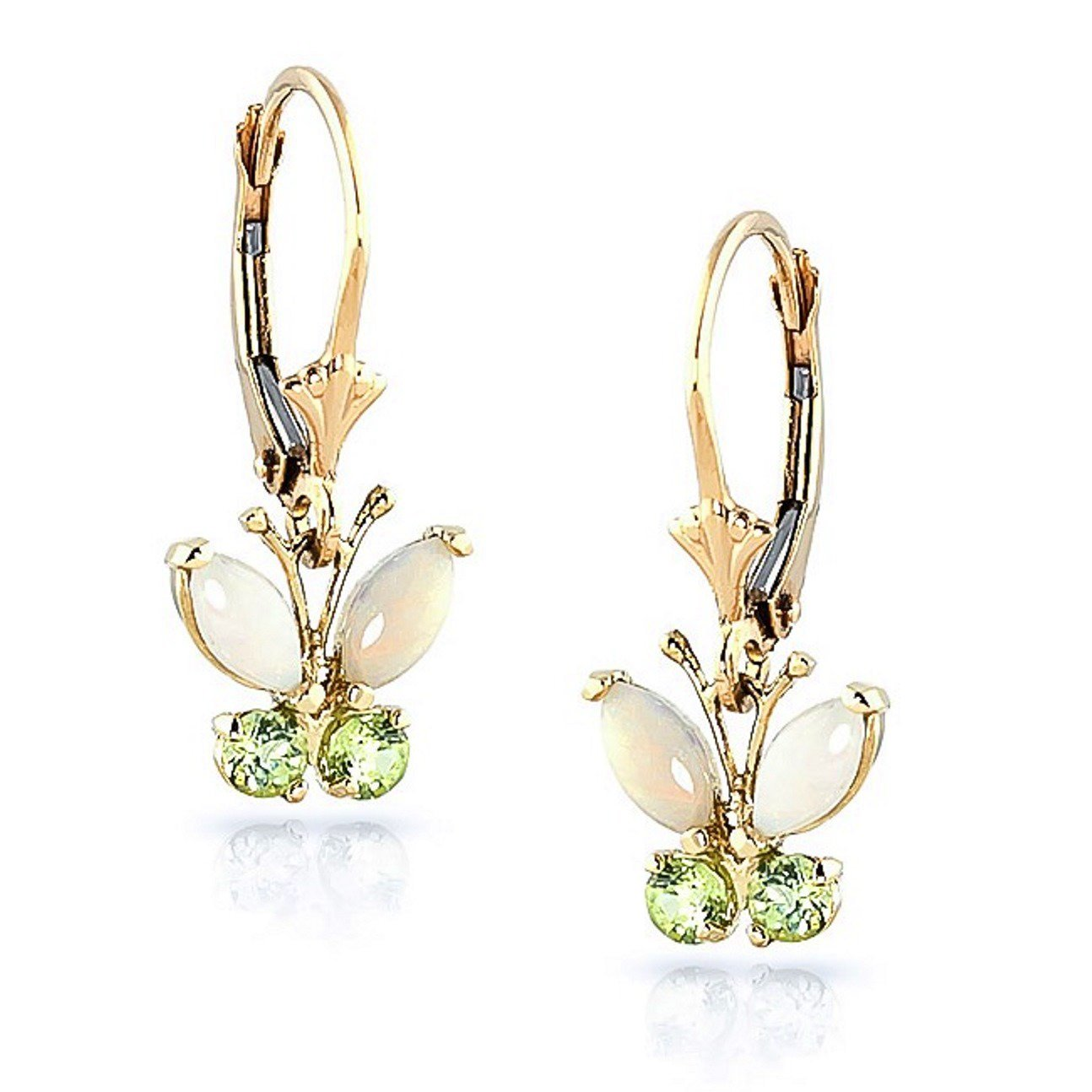 Opal Peridot Open Butterfly Leverback Dangle Earrings Solid 14K Yellow Gold 2202-Y