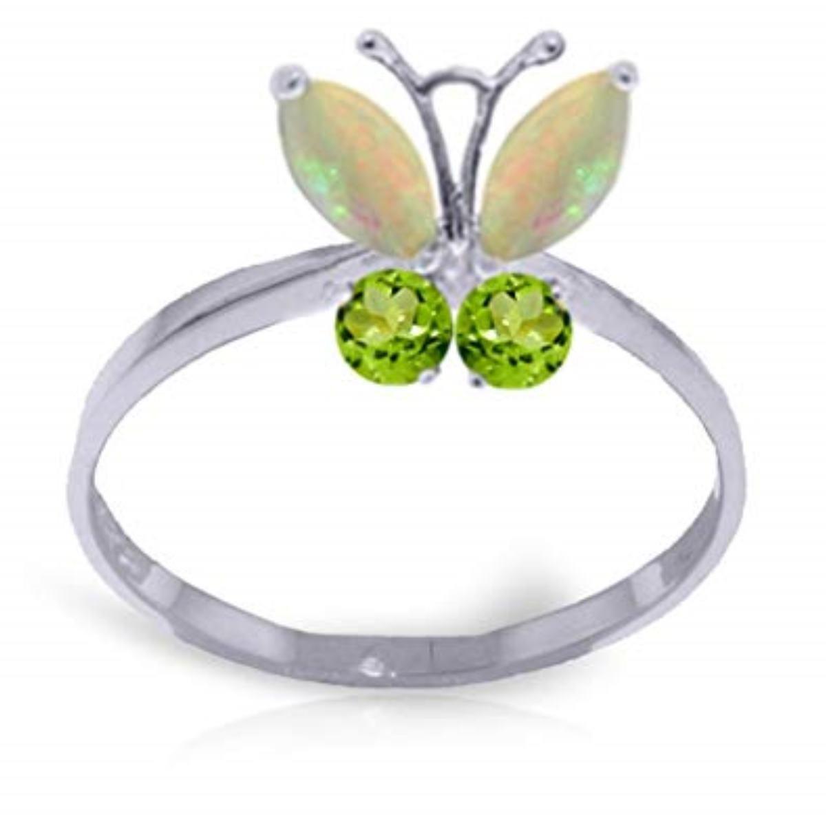 Opal Peridot Flying Butterfly Gemstone Ring Solid 14K White Gold 2348-W