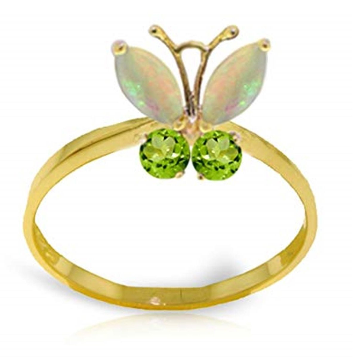 Opal Peridot Flying Butterfly Gemstone Ring Solid 14K Yellow Gold 2348-Y