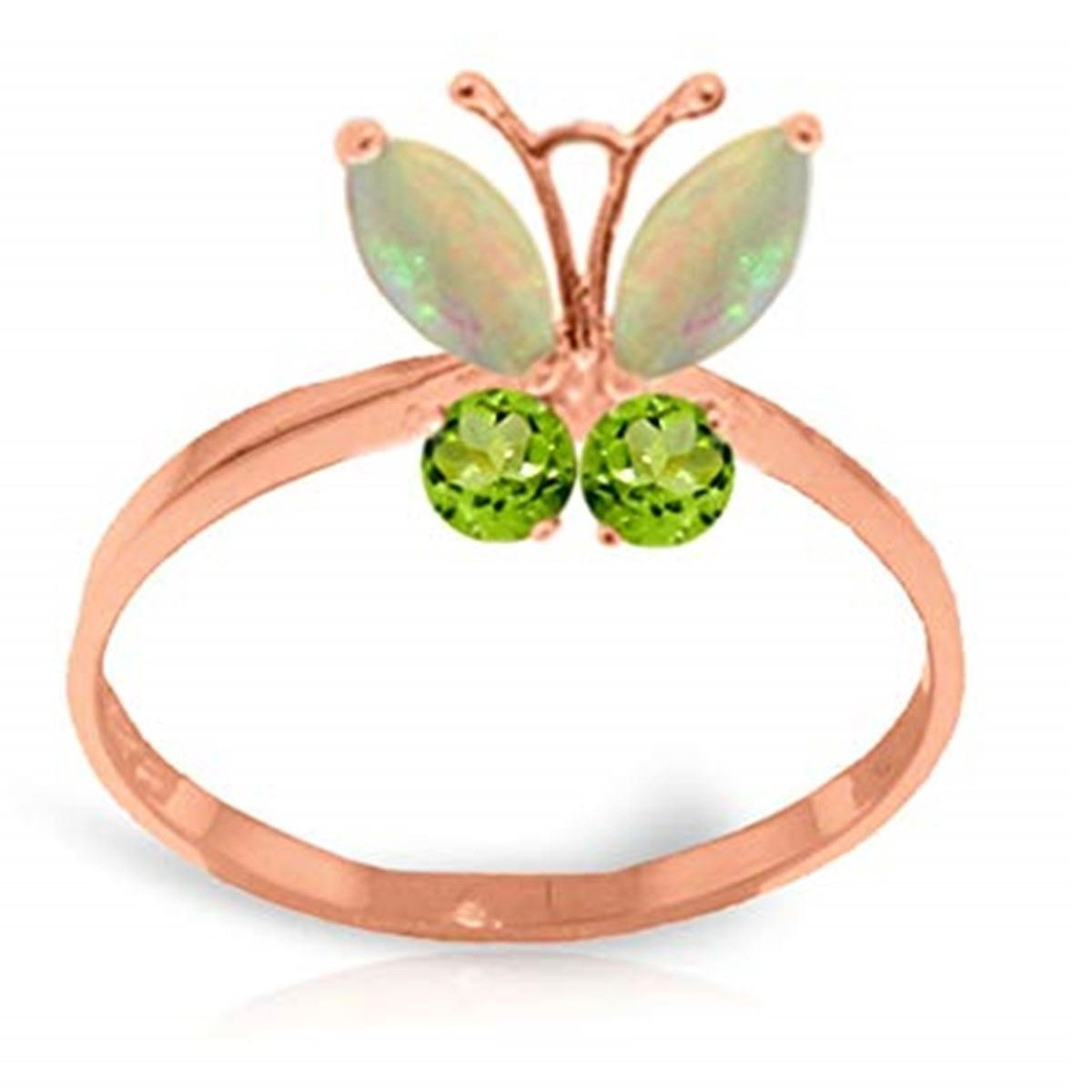 Opal Peridot Flying Butterfly Gemstone Ring Solid 14K Rose Gold 2348-R
