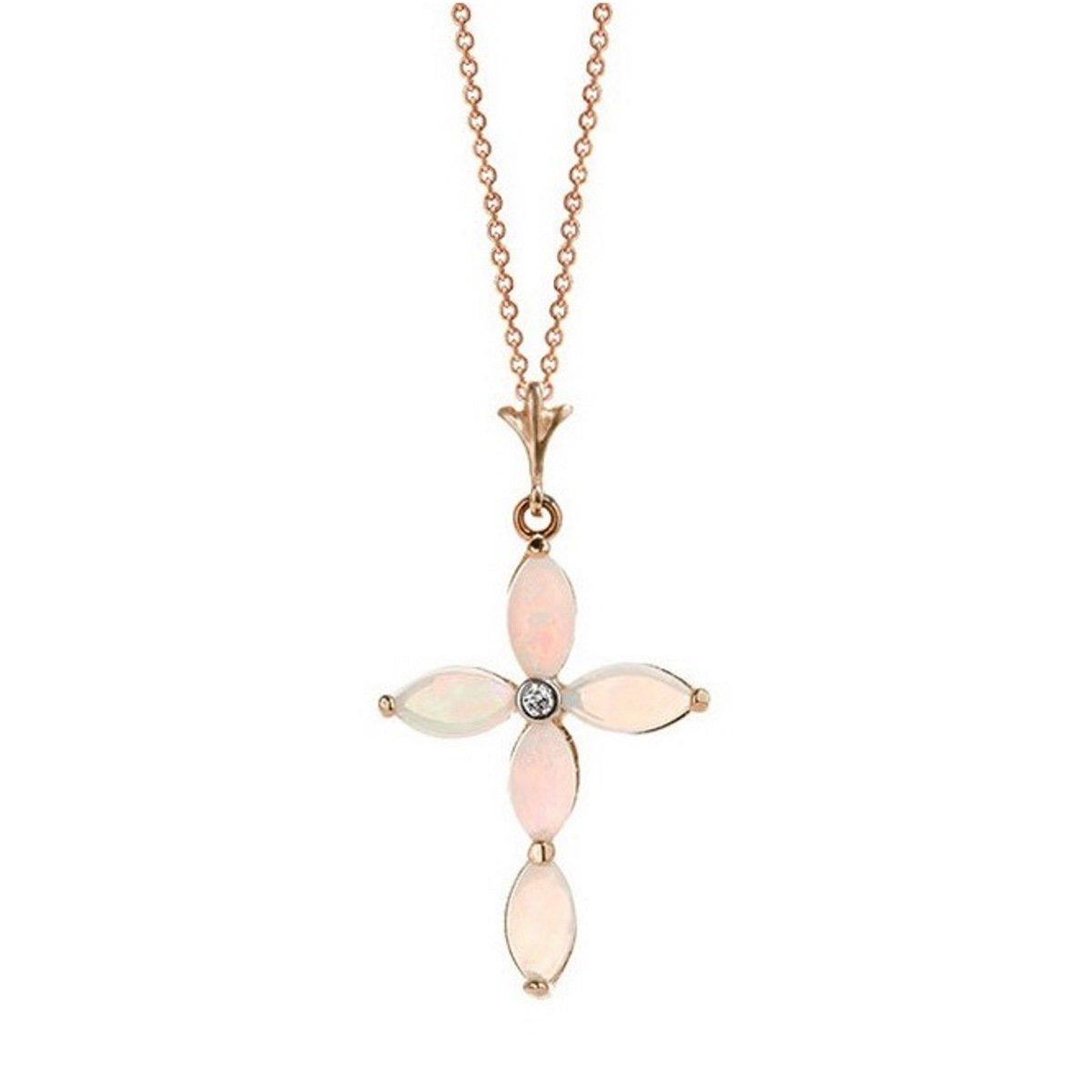 Opal Diamond Cross Pendant Necklace Solid 14K Rose Gold 2191-R