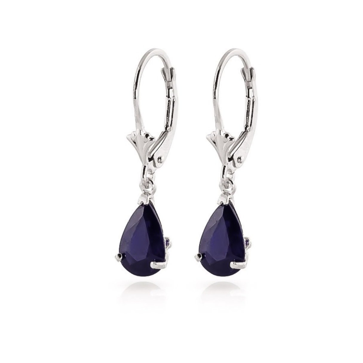 Natural Sapphire Teardrop Leverback Dangle Earrings Solid 14k White Gold 1865-W