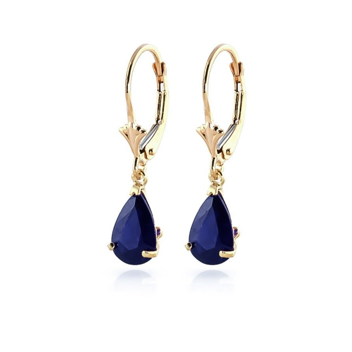 Natural Sapphire Teardrop Leverback Dangle Earrings Solid 14k Yellow Gold 1865-Y