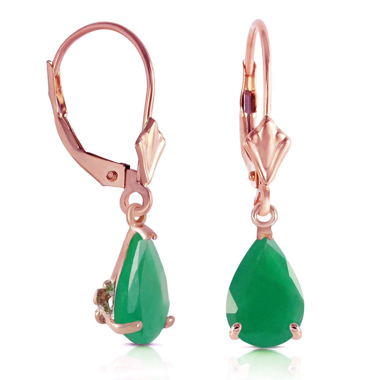 Natural Emerald Teardrop Leverback Dangle Earrings Solid 14k Rose Gold 4258-R