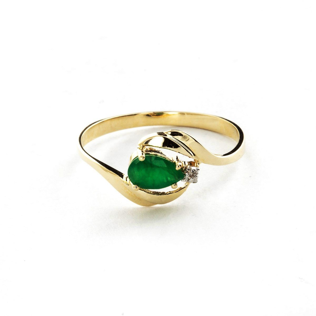 Pear Shape Natural Emerald Diamond Ring Solid 14k Yellow Gold 2117-Y