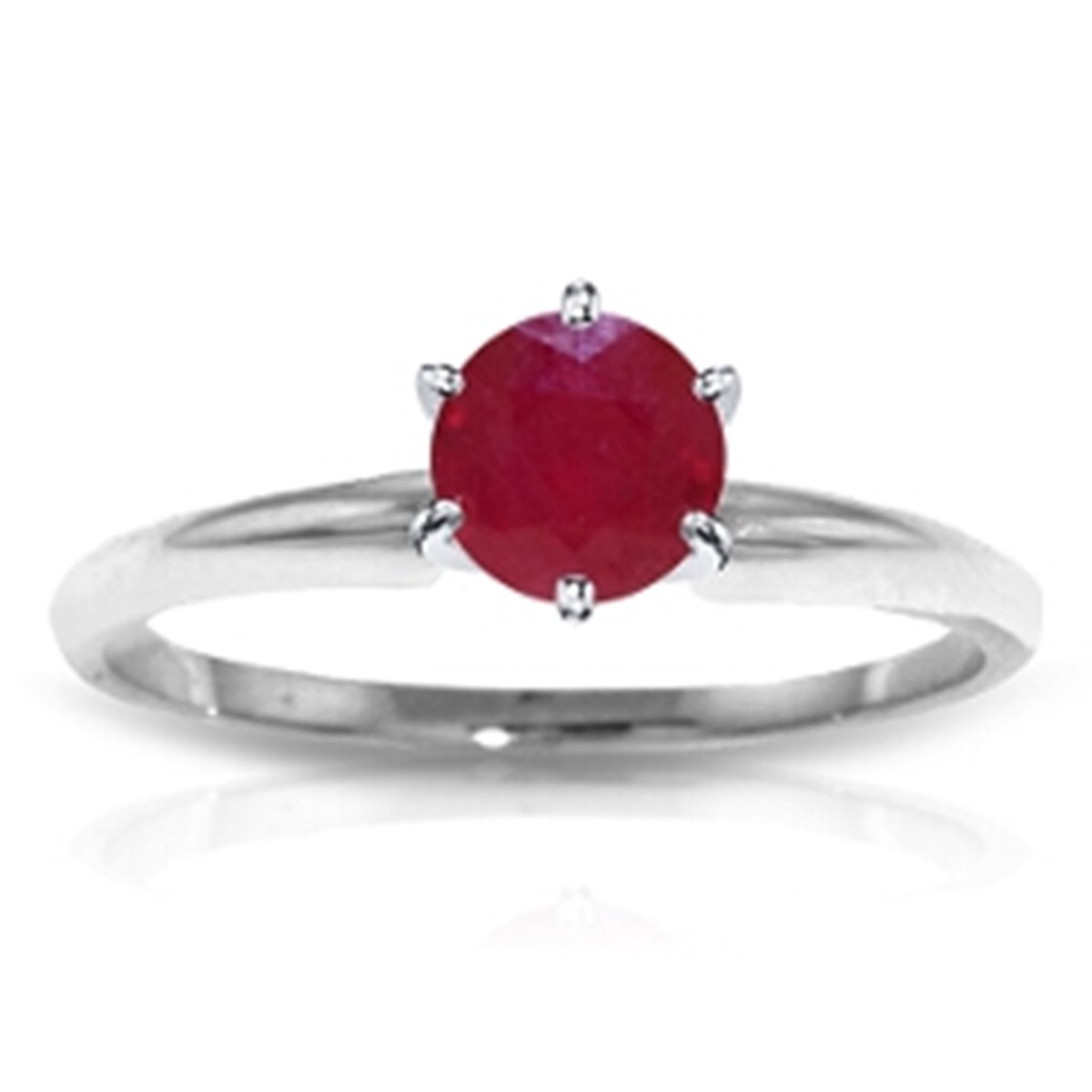 July Birthstone Natural Round Ruby Solitaire Ring Solid 14k White Gold 2846-W