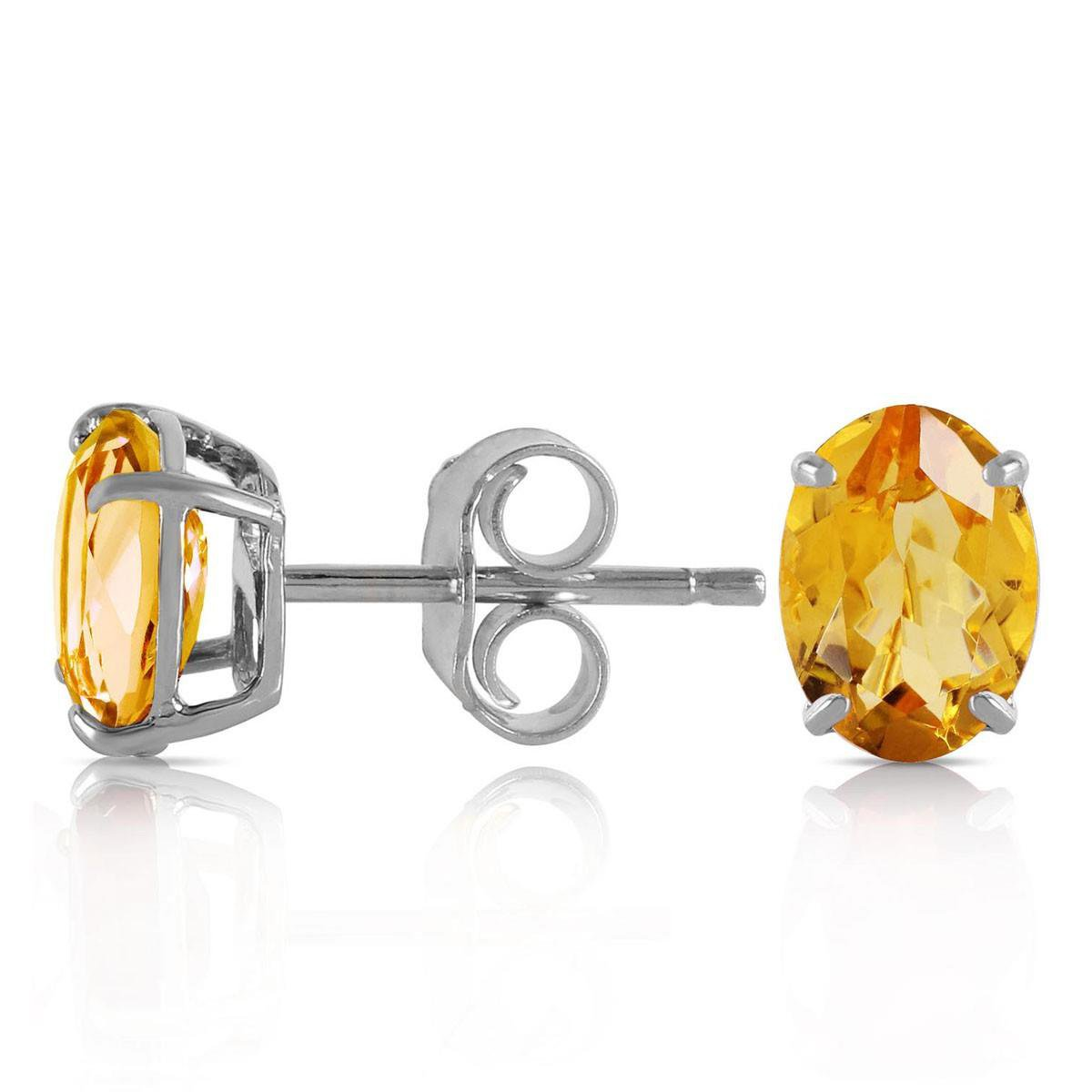 Natural Oval Citrine Stud Earrings Solid 14k White Gold 1933-W
