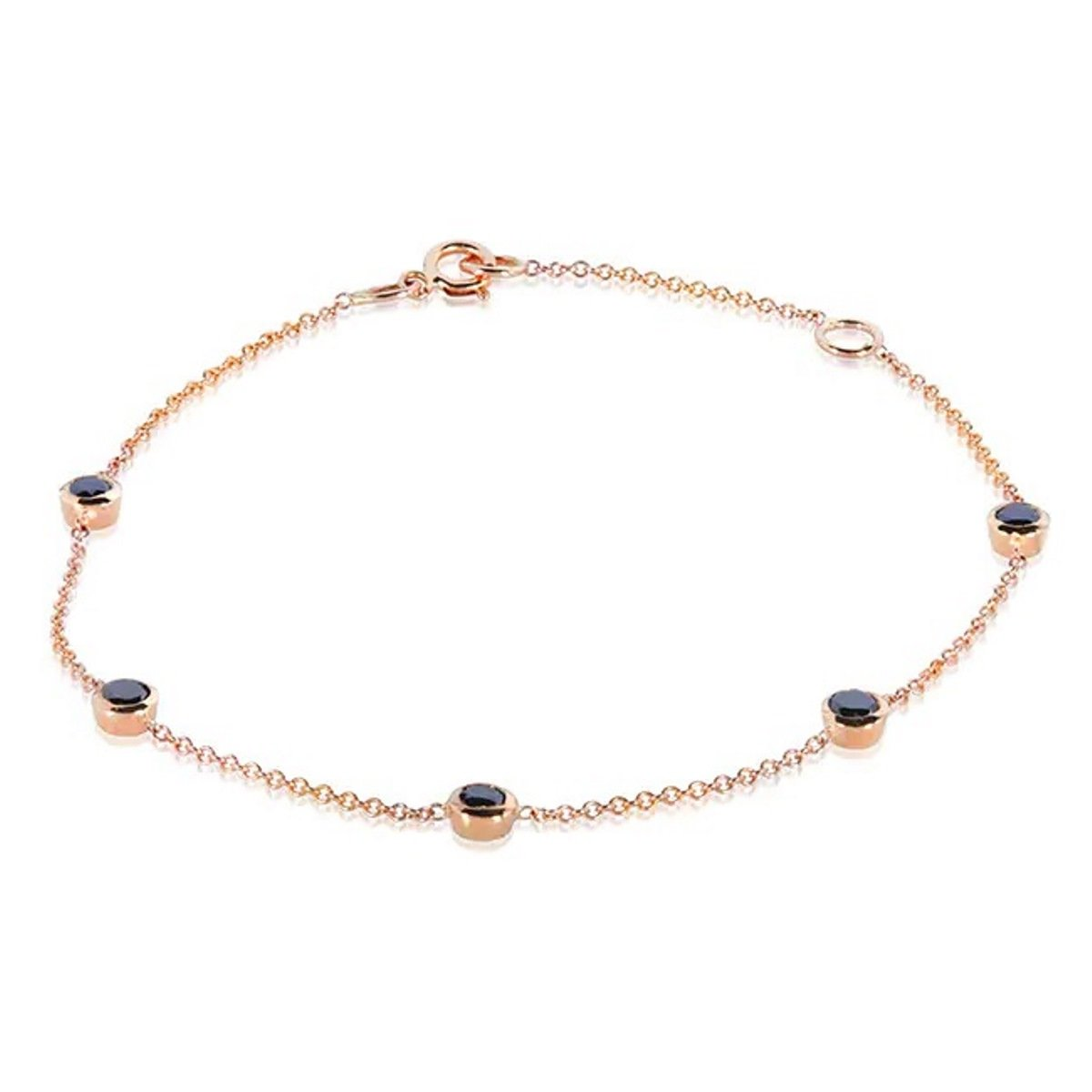 Natural Round Black Diamond Stations Bracelet Solid 14k Rose Gold KBRG