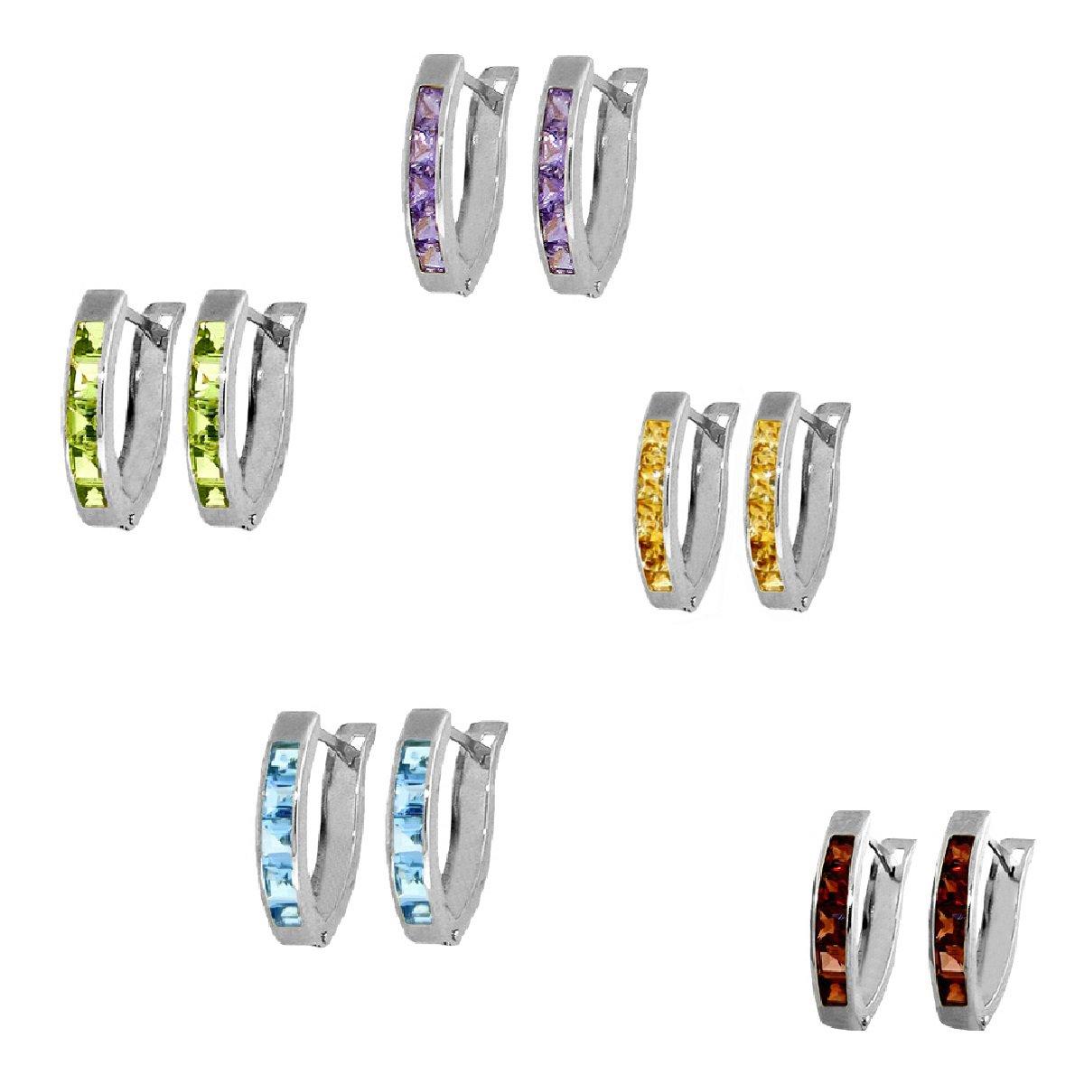 Princess Cut Peridot Amethyst Garnet Topaz or Citrine Huggie Earrings Sterling Silver 3581S