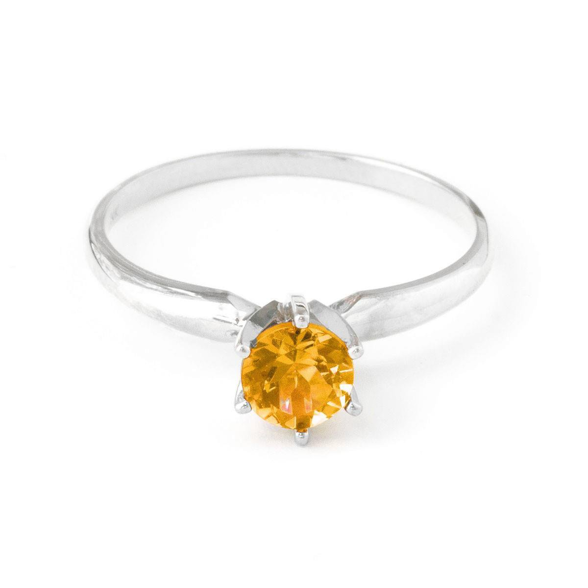 November Birthstone Natural Round Citrine Solitaire Ring Solid 14k White Gold 2849-W