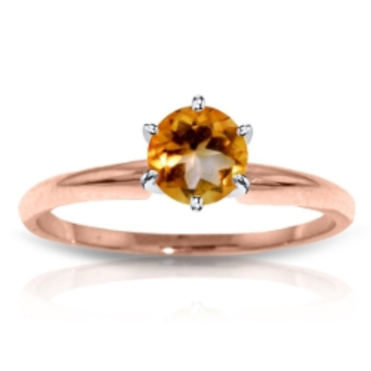 November Birthstone Natural Round Citrine Solitaire Ring Solid 14k Rose Gold 2849-R