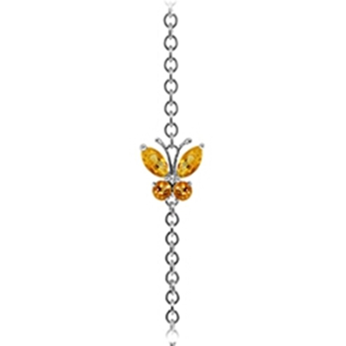 14K Solid White Gold Wings of a Citrine Butterfly Bracelet 5024-W
