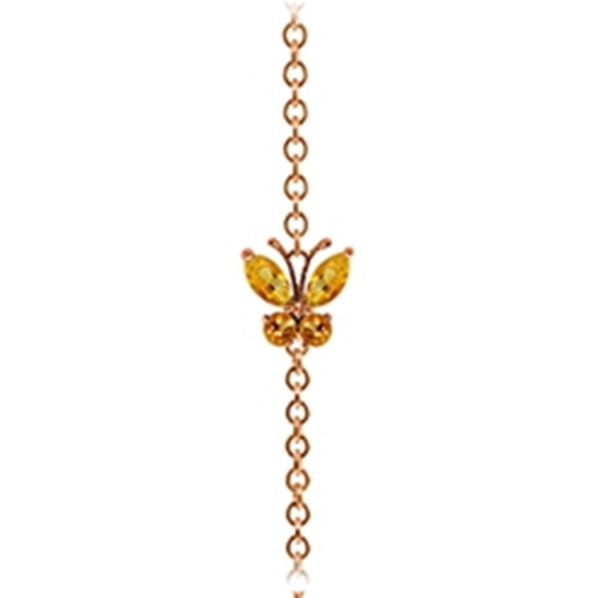 14K Solid Rose Gold Wings of a Citrine Butterfly Bracelet 5024-R