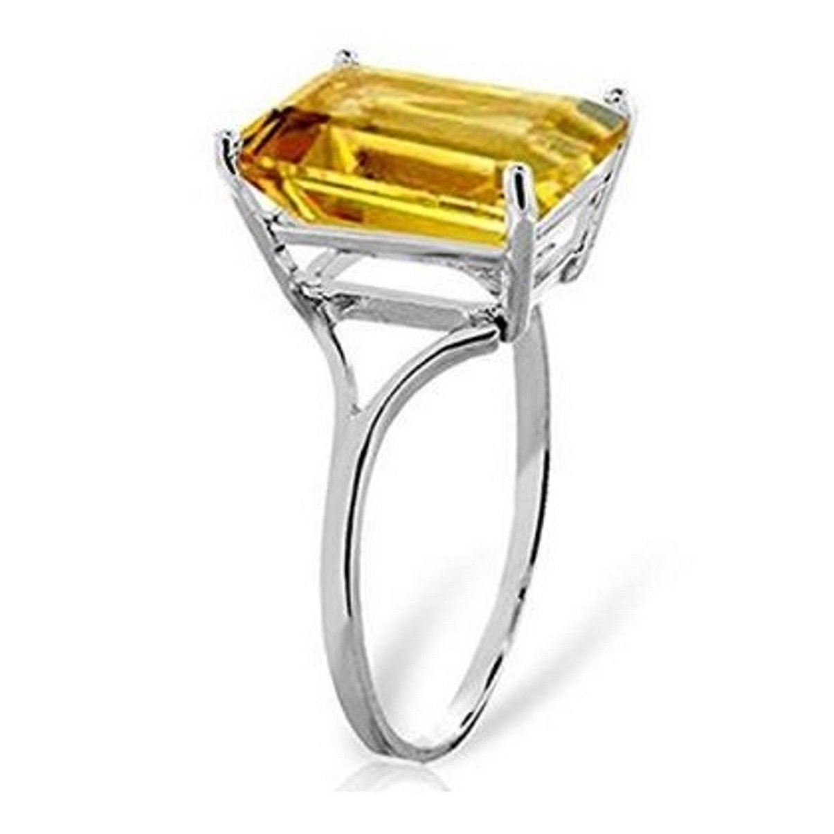 Large Emerald Cut Citrine Ring Email Size 14k White Gold 1799-W