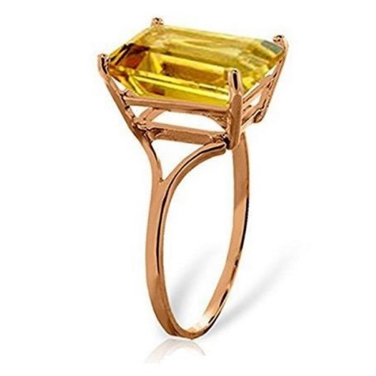 Large Emerald Cut Citrine Ring Email Size 14k Rose Gold 1799-R