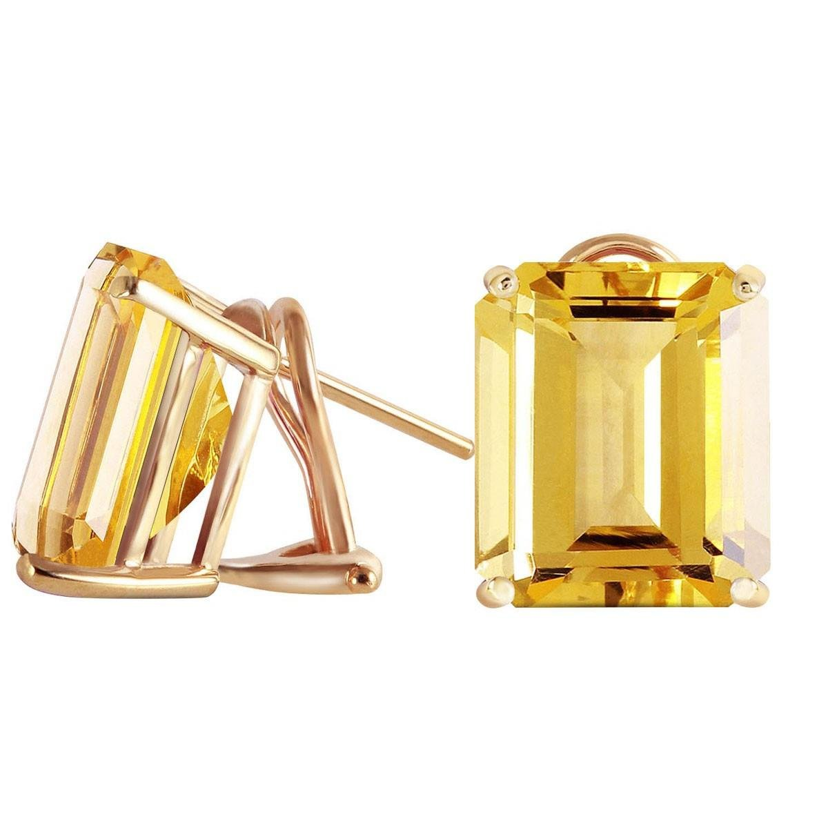 Large Emerald Cut Citrine Omega Back Earrings 14k Yellow Gold 2068-Y
