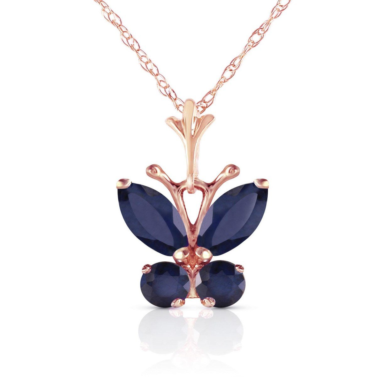 September Birthstone Sapphire Butterfly Pendant Necklace 14k Rose Gold 4631-R