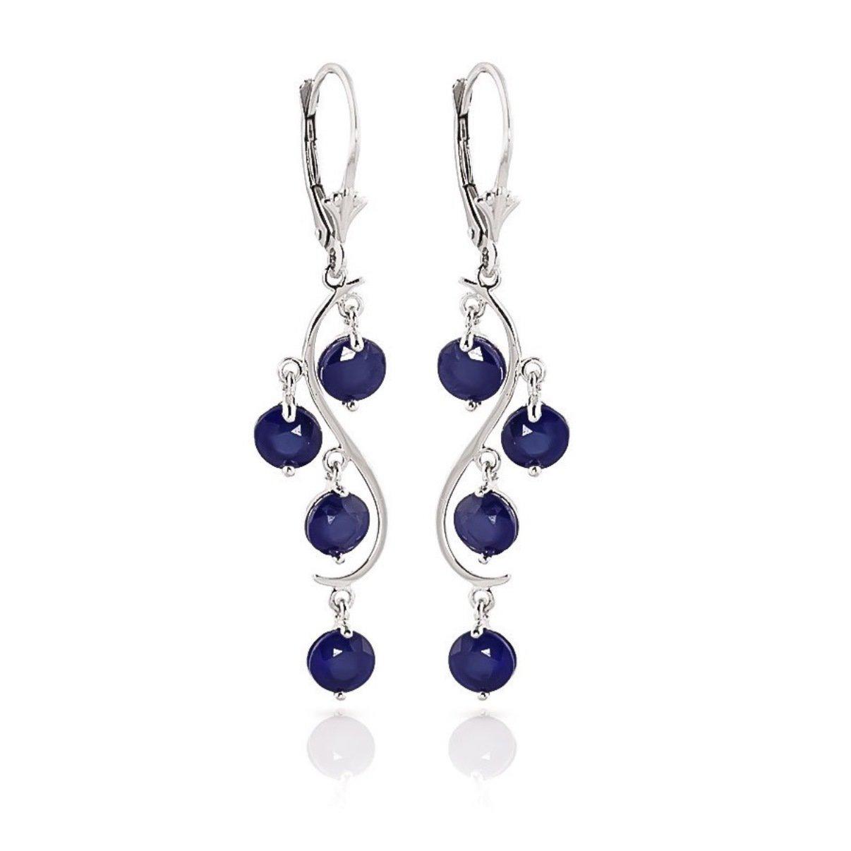 September Birthstone Sapphire Chandelier Earrings 14k White Gold 2093-W