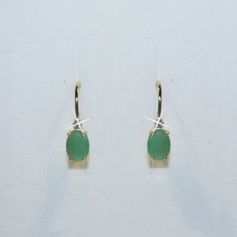 Oval Emerald Leverback Dangle Drop Earrings 14k Yellow Gold over 925 SS