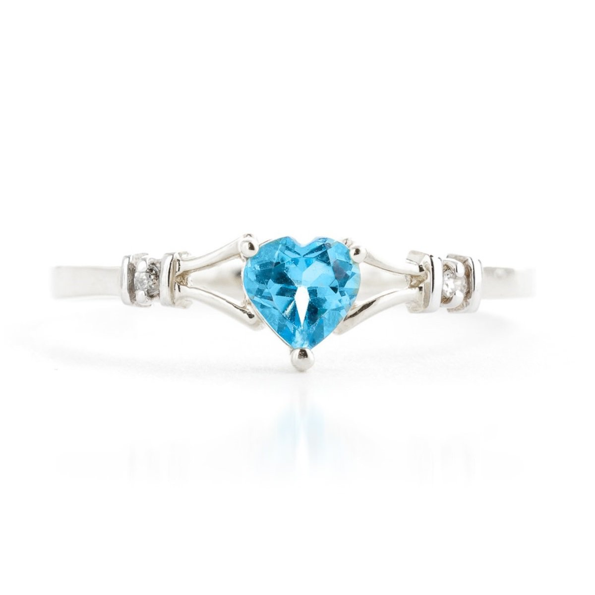 Blue Topaz Heart Diamond Ring Solid 14k White Gold 1277-W