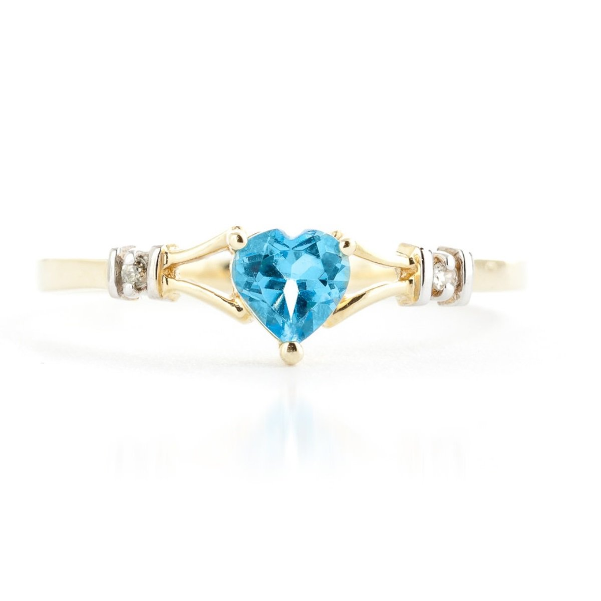Blue Topaz Heart Diamond Ring Solid 14k Yellow Gold 1277-Y