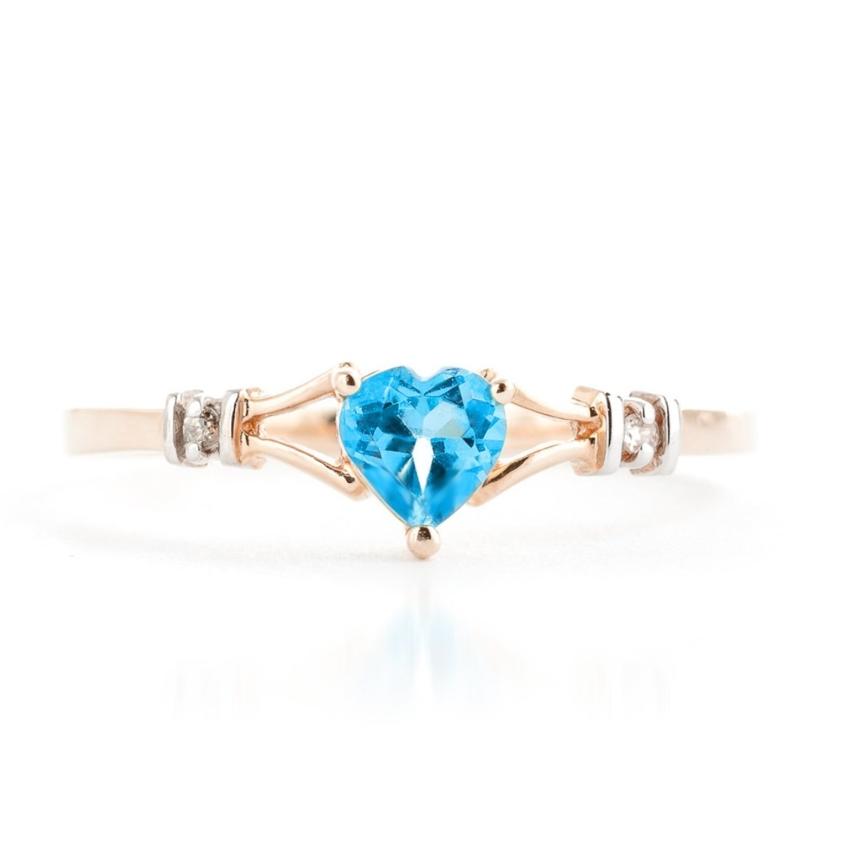 Blue Topaz Heart Diamond Ring Solid 14k Rose Gold 1277-R