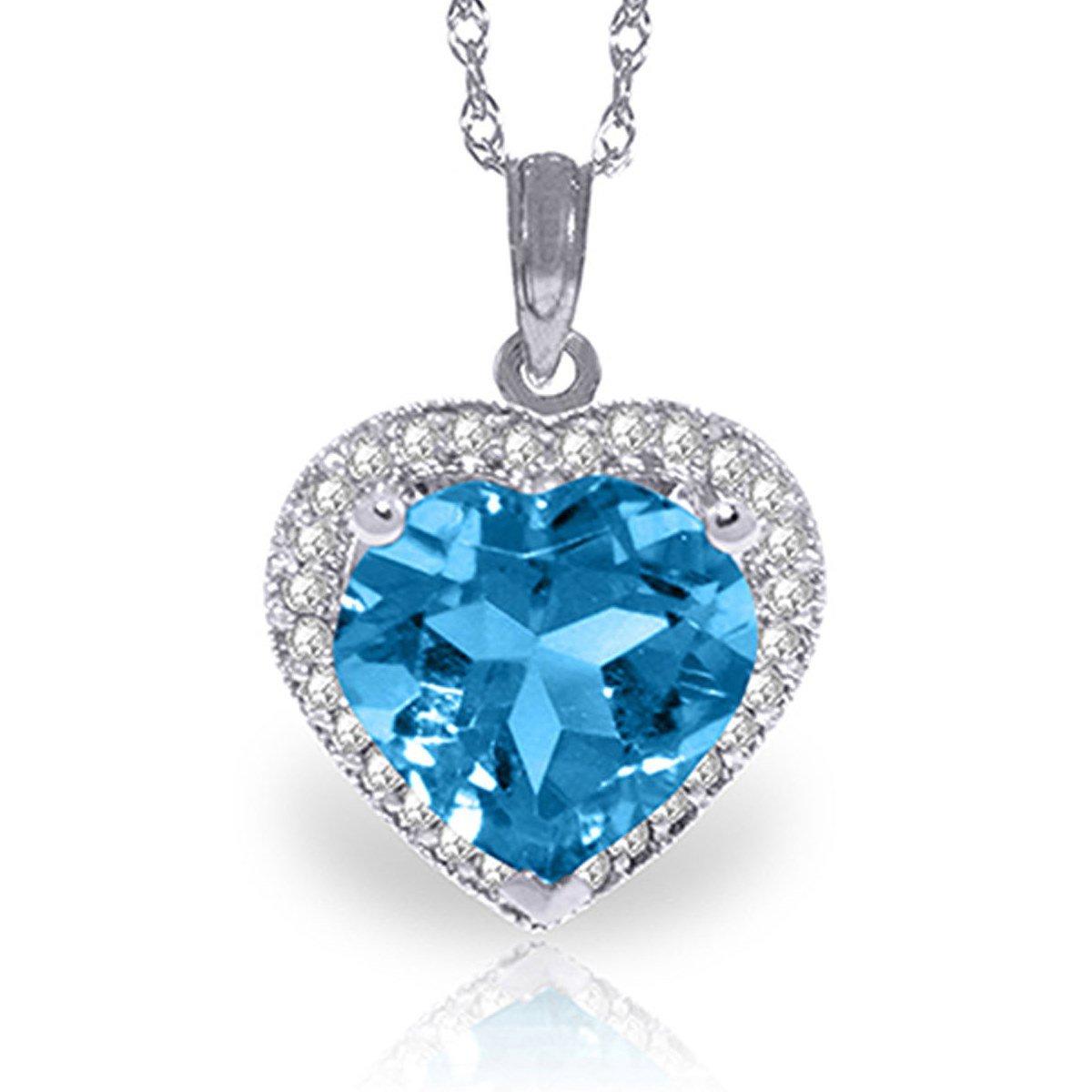 Heart Blue Topaz 29 Diamonds Pendant Necklace 14k White Gold 4951-W