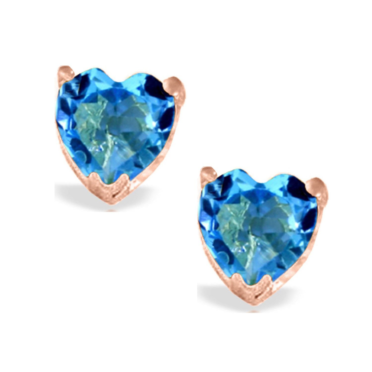 Blue Topaz Heart Stud Earrings Solid 14k Rose Gold 1813-R