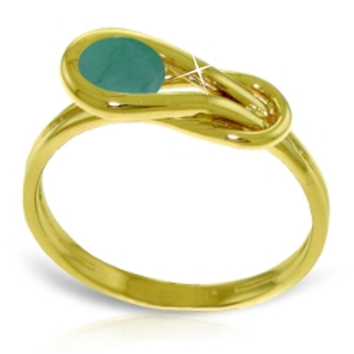 Love Knot Ring Natural Emerald Engagement Birthstone 14K Solid Yellow Gold 4217-Y