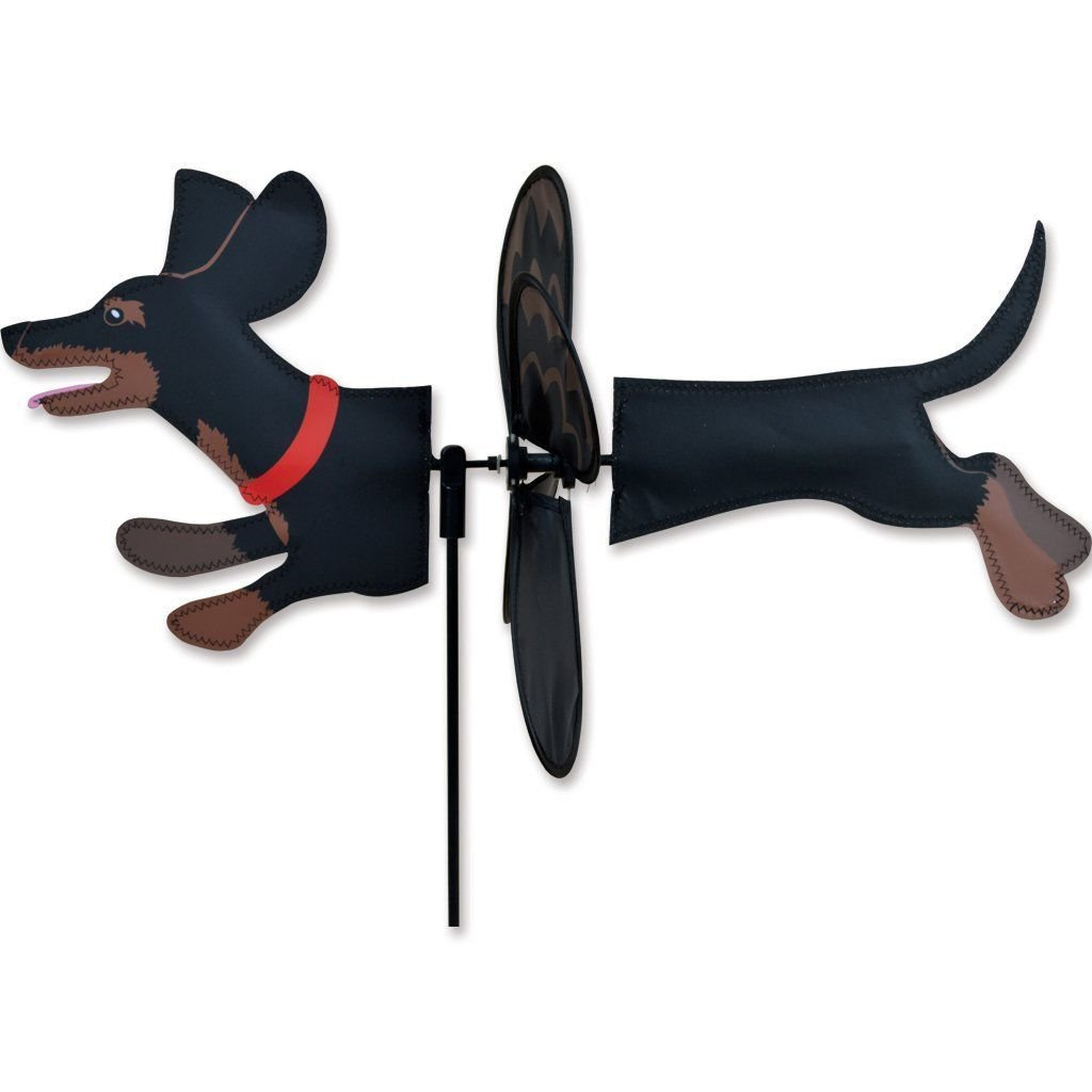 Black & Tan DACHSHUND Petite Garden Wind Spinner by Premier Kites & Designs