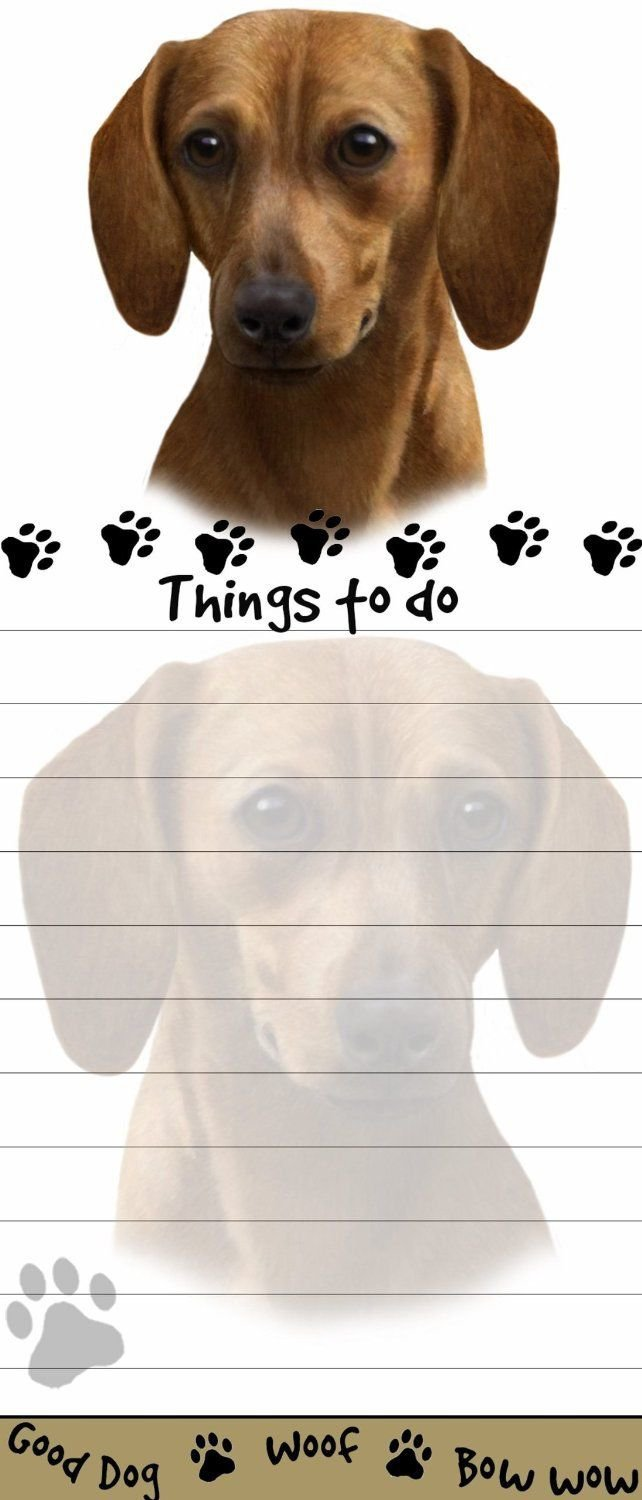 DACHSHUND RED Die Cut List Pad/Note Pad with Magnetic Back