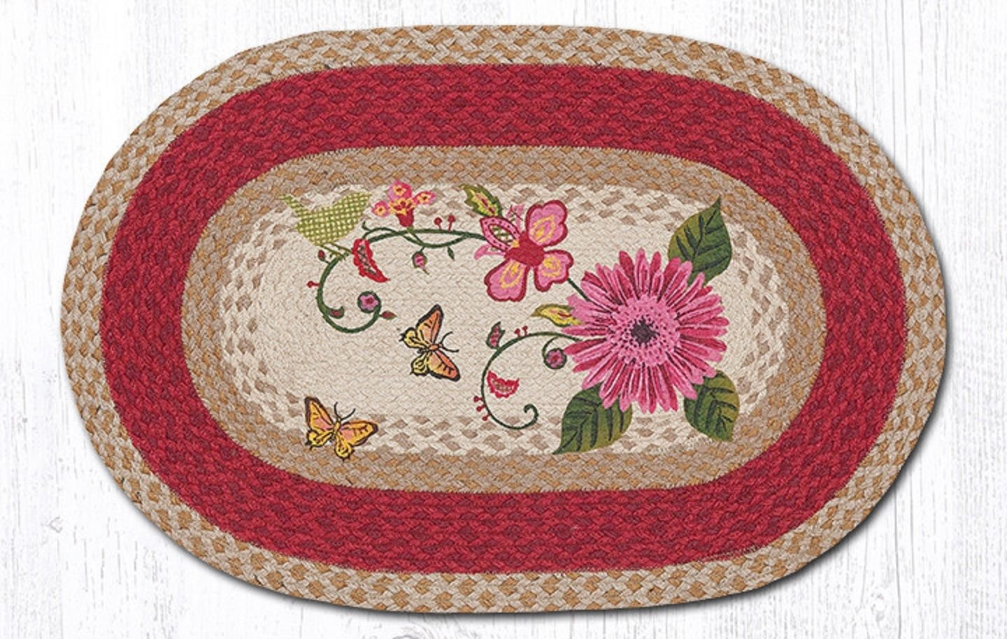 "BRAIDED RUG--20"" X 30"" Oval 100% Jute Rug--PETAL PARTY"