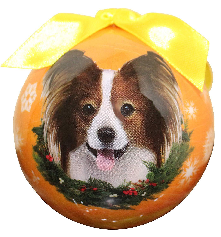 "PAPILLON-Shatterproof Ball Ornament--3""-- by E & S Pets"