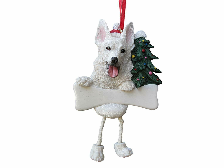 GERMAN SHEPHERD-WHITE--Dangling Legs Dog Christmas Ornament by E&S Pets