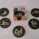 Ancient Greek Satire Scenes Ceramic Coasters set of 6 with case, stoneware, cups, mugs, pottery