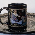 Ancient Greek Gods, Black Ceramic Mug 24 Kt Gold, stoneware, cups, mugs, pottery