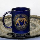 Ancient Greek Olympic Games, Cobalt Ceramic Mug 24 Kt Gold, stoneware, cups, mugs, pottery