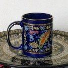 Ancient Greek Colossus of Rhodes, Cobalt Ceramic Mug 24 Kt Gold, stoneware, cups, mugs, pottery