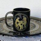 Ancient Greek Satire, Black Ceramic Mug 24 Kt Gold, stoneware, cups, mugs, pottery