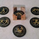Ancient Greek Olympic Games Ceramic Coasters set of 6 with case, stoneware, cups, mugs, pottery