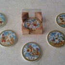 Ancient Greek Ceramic Coasters set of 6 with case, stoneware, cups, mugs, pottery