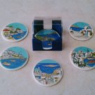 Sea And Sky, Landscape Ceramic Coasters set of 6 with case, stoneware, cups, mugs, pottery