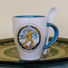 Ancient Greek Olympic Games, Light Blue & White Mug 24 Kt Gold, stoneware, cups, mugs, pottery