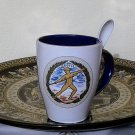 Ancient Greek Olympic Games,Cobalt & White Ceramic Mug 24 Kt Gold, stoneware, cups, mugs, pottery