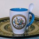 Ancient Greek Gods, Light Blue & White Ceramic Mug 24 Kt Gold, stoneware, cups, mugs, pottery