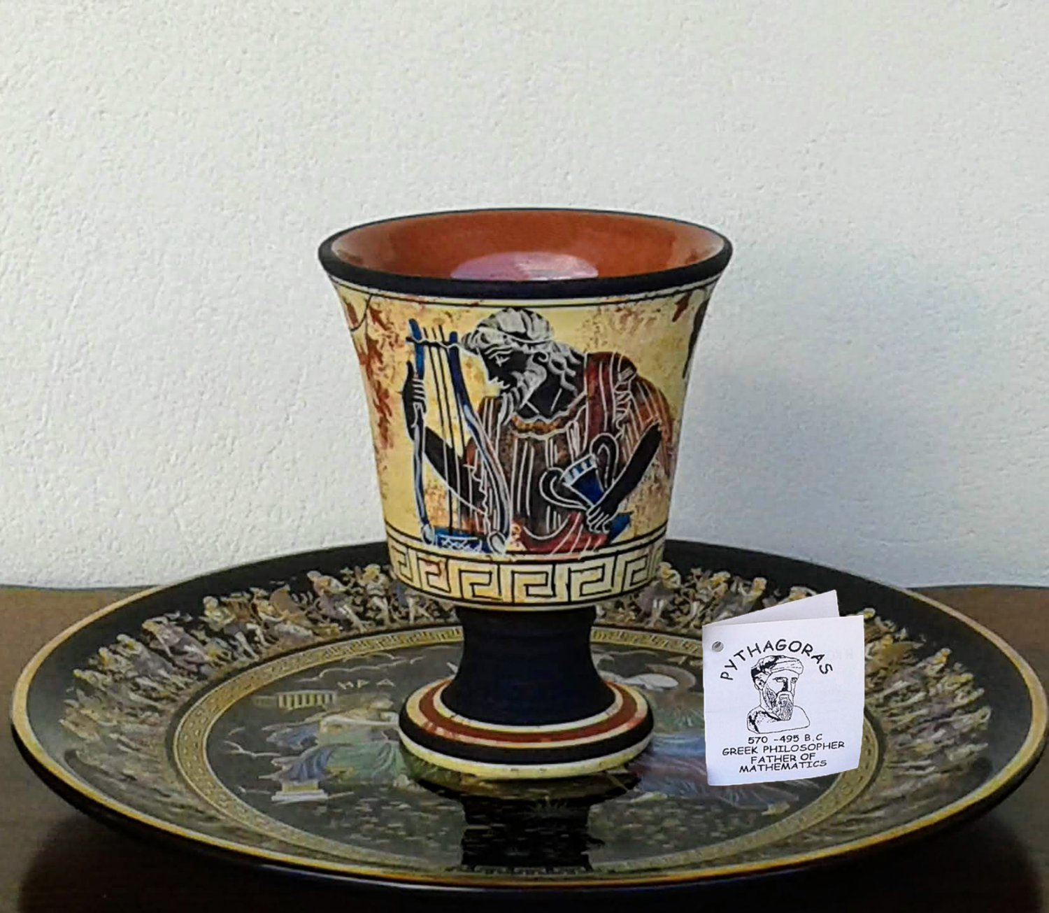 Pythagoras cup, Fair cup, Museum Copy, engraved in hand, depicts God Dionysus, stoneware, pottery