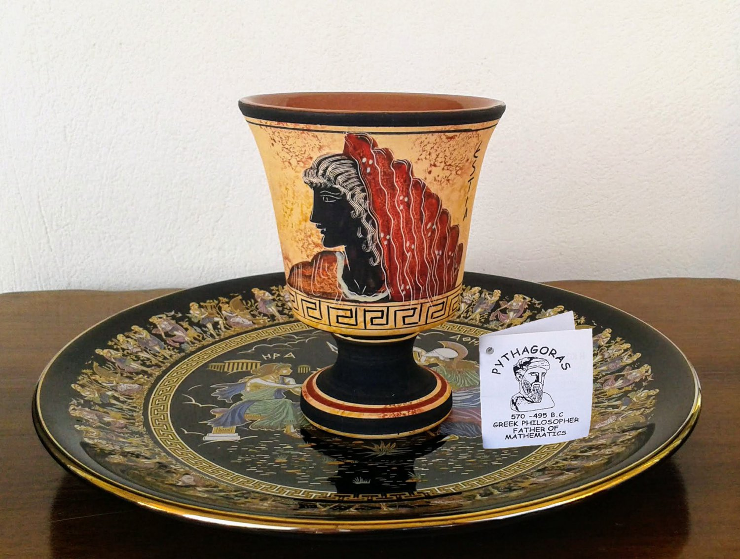 Pythagoras cup, Fair cup, Museum Copy, engraved in hand, Goddess Hestia, stoneware, pottery